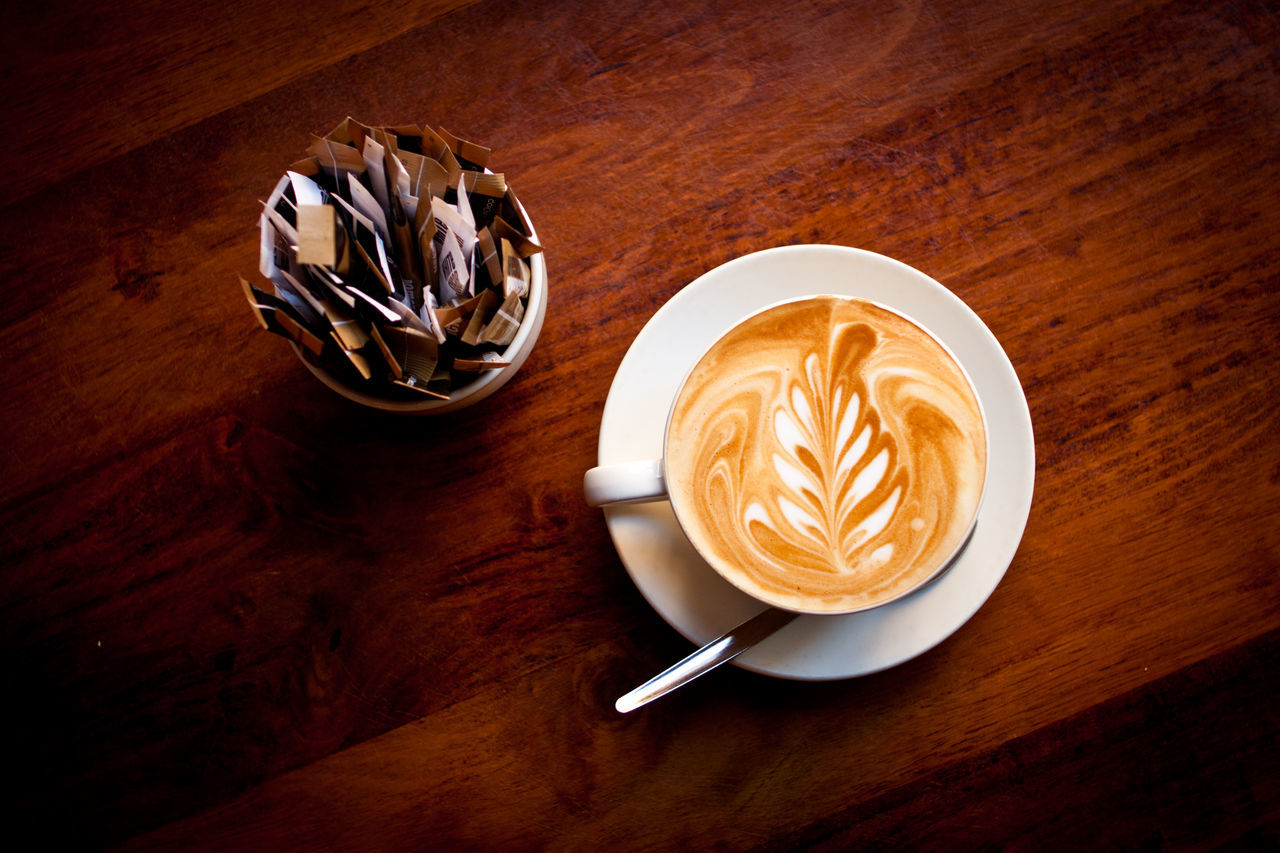 Coffee - Drink Coffee Cup Directly Above Drink From Above  Froth Art Indoors  Latte Art No People Table White Coffee