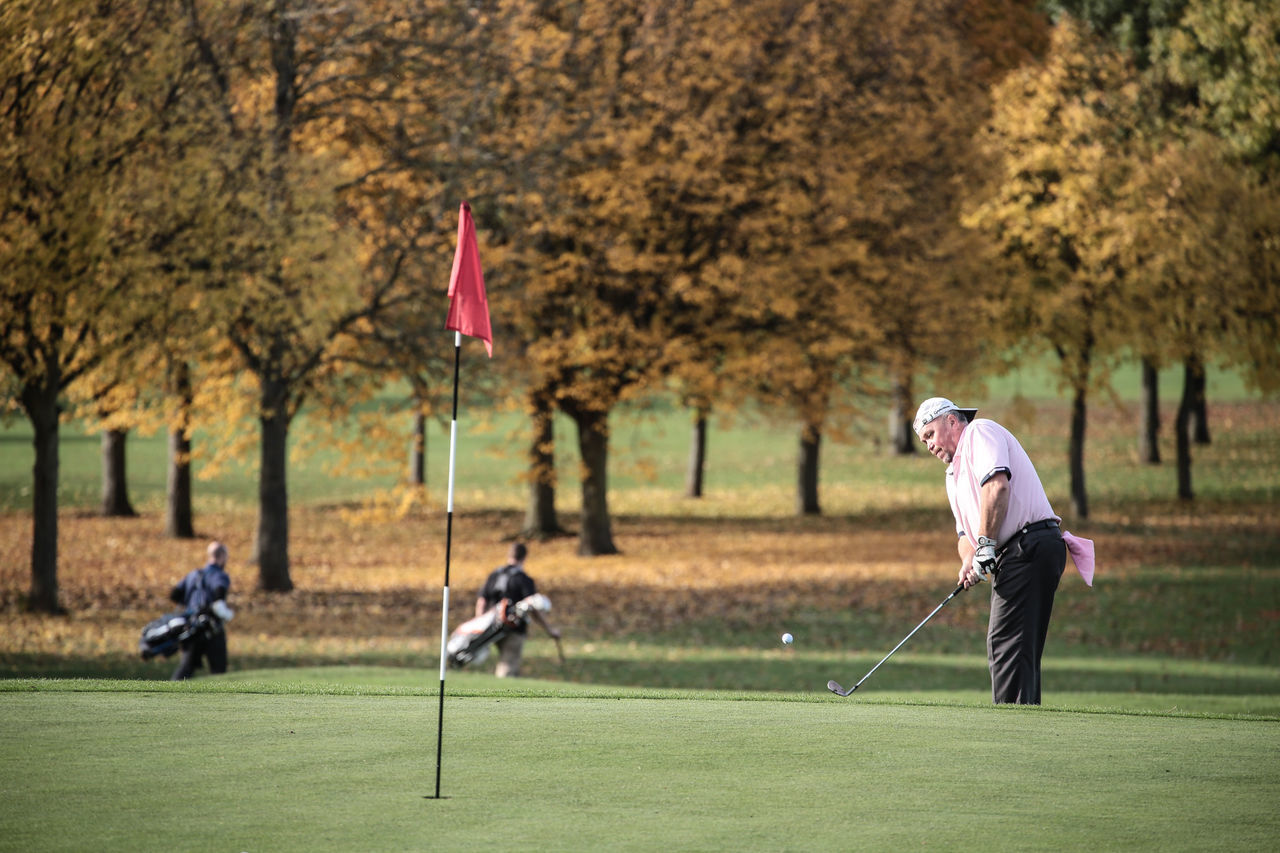 golf, golf course, golf club, sport, leisure activity, golfer, tree, green - golf course, taking a shot - sport, adults only, competition, sportsman, full length, motion, golf ball, adult, outdoors, weekend activities, people, golf swing, day, only men, playing, men, two people, nature, competitive sport, grass