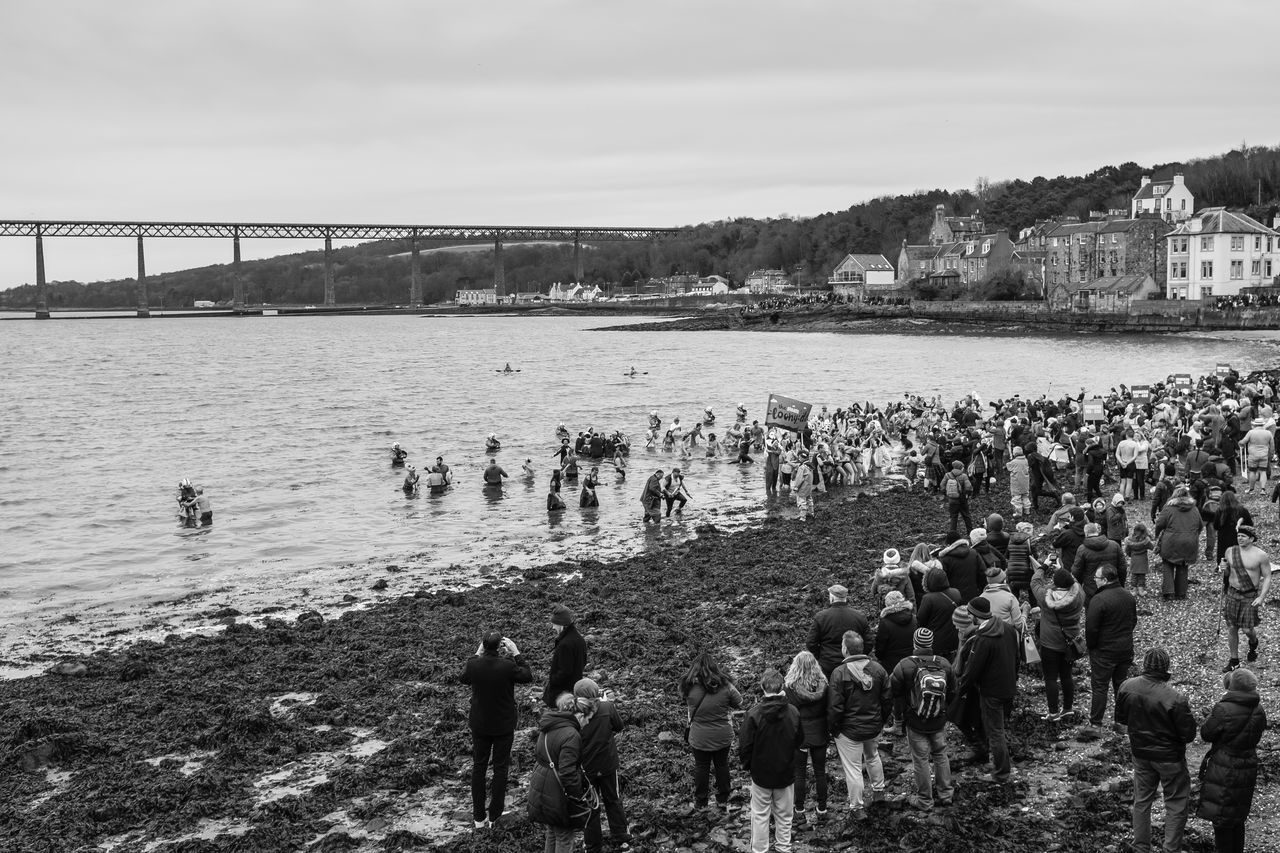 Beach Blackandwhite Blakck And White Costume Edinburgh Eye Em Scotland EyeEm Best Edits EyeEm Best Shots Fancy Dress Fuji X100s Fujifilm_xseries Large Group Of People Loonydook Monochrome NewYear People People Watching Peoplephotography Real People Scotland South Queensferry Tradition Water