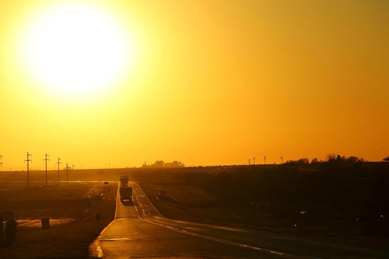 Sunset Sun Silhouette Outdoors Sky Nature Route Tracks Trucks Transortation Road Scenics
