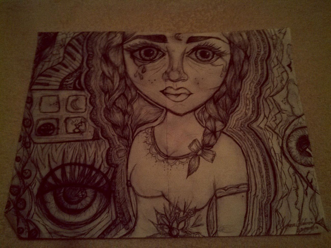 MyDrawing Boredatschool BigEyesDolls Bigeyes Braids Eyes Eyedrawing Thickeyebrows Girlcrying Luna a tres cuadras.♥