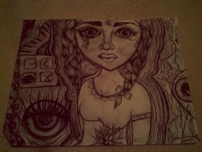 MyDrawing Boredatschool BigEyesDolls Bigeyes Braids Eyes Eyedrawing Thickeyebrows Girlcrying Luna a tres cuadras.♥
