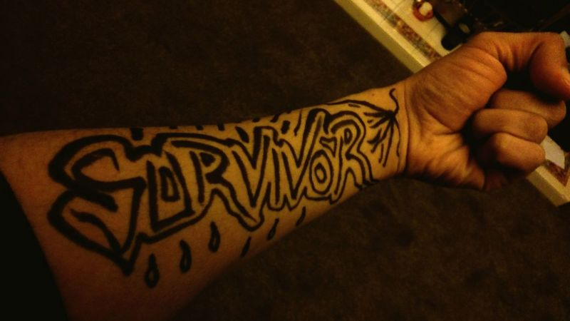 Human Hand Human Body Part Design Pattern People Adult Indoors  Close-up Men Ink Painted Image One Person Adults Only Only Men Day Arm Body Art Tattoo Ink [ Expression Graffiti Expressionism Photography . Fist Forearm Tattoo . Mental Health  . Depression Message
