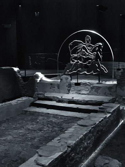 Inside the Mithraeum ... London's newest Museum created from the Roman ruins of the Mithras Temple which forms the basement of the new Bloomberg Building LONDON❤ Blackandwhite Bnw_collection