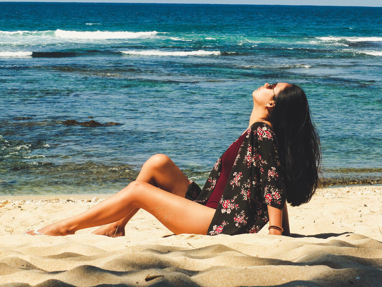 EyeEm Selects Beach Sand Sea Vacations Relaxation Only Women Young Adult Beautiful Woman Summer Young Women One Person One Woman Only Beauty Leisure Activity Nature Sunbathing Adult Water Outdoors Tranquil Scene