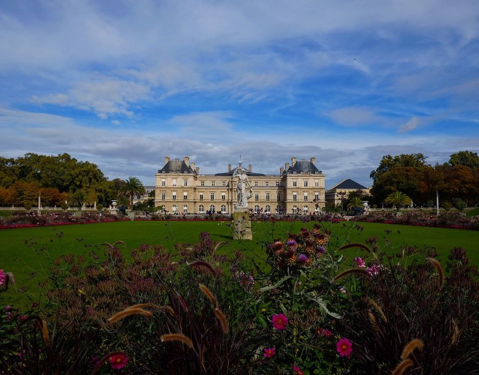 Jardin Luxembourg Jardin Du Luxembourg Garden Architecture Paris Sky Outdoors Tourism Flower Nature Beauty In Nature No People Travel Destinations Europe Sunlight Colors Colorful Autumn