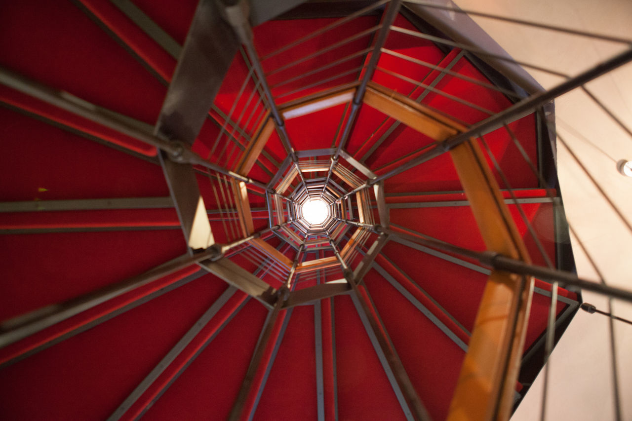 Stairs Architecture Architecture Built Structure Ceiling Close-up Day Directly Below Illuminated Indoors  Lighting Equipment Low Angle View No People Red The Architect - 2017 EyeEm Awards
