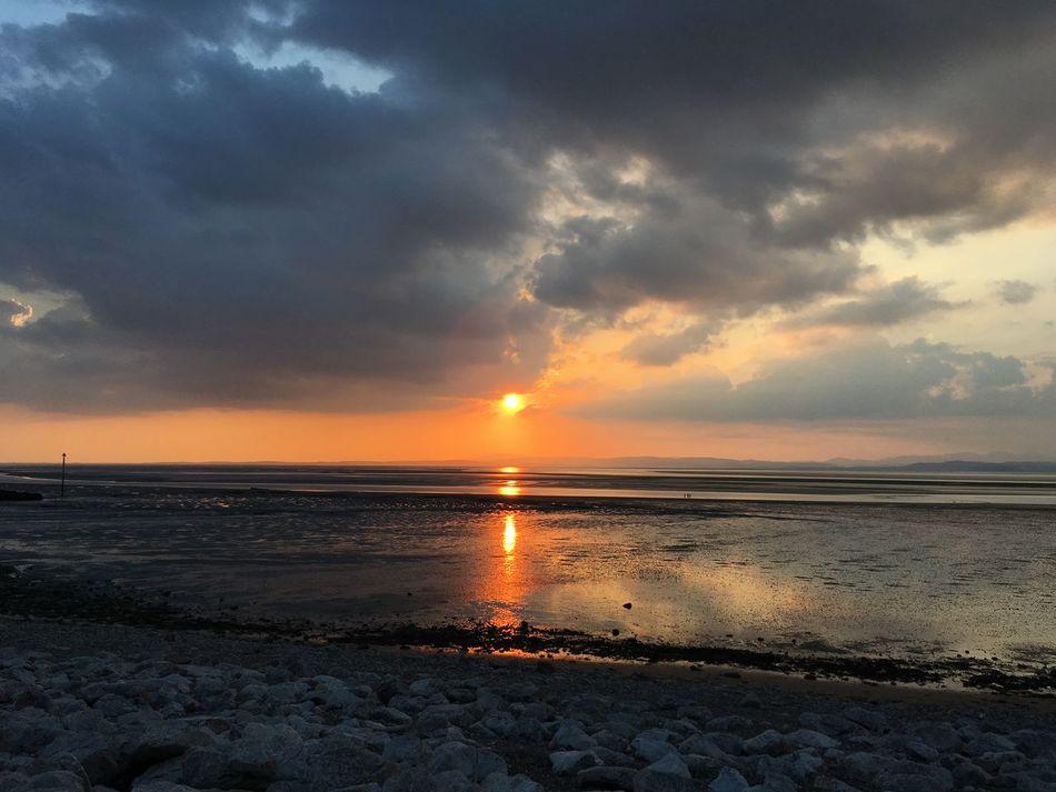 Sunset over Morecambe Bay Beach Lancashire Morcambe Bay Sea Sea And Sky