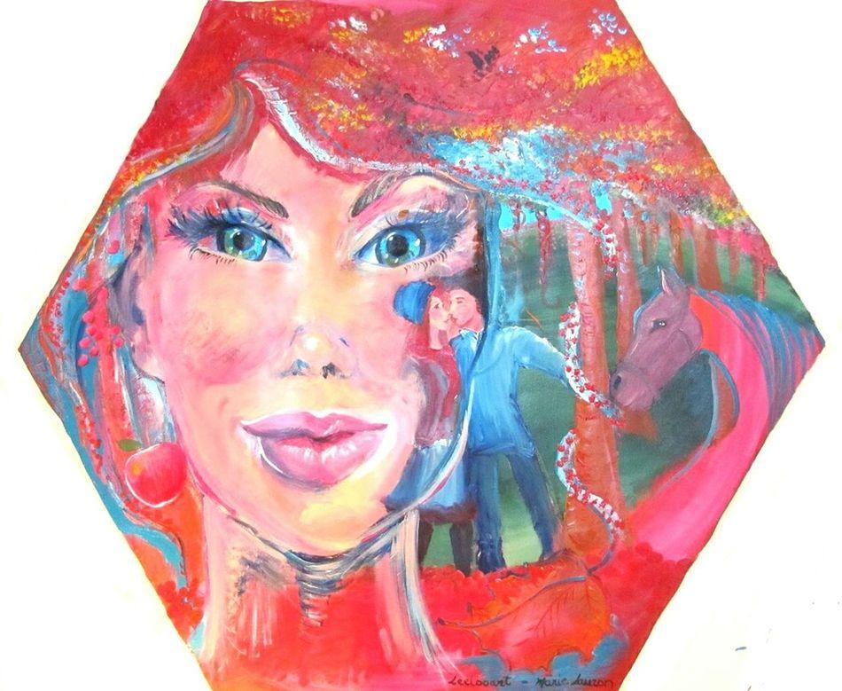 """Titre : """" L'automne et les pommes """" / """" Automn and the Apples """" a été exposé au Brésil avec le Show de Bola - Curatrice Leda Maria Prado. Leelooart.ca """" Boutique Leelooart """" sur Etsy Showdebola LedaMariaPrado Multi Colored Colorful People Adult Person Colorful Horse Horse Automn Automne🍁🍂🍃 Leelooart Leeloo MarieLauzon"""