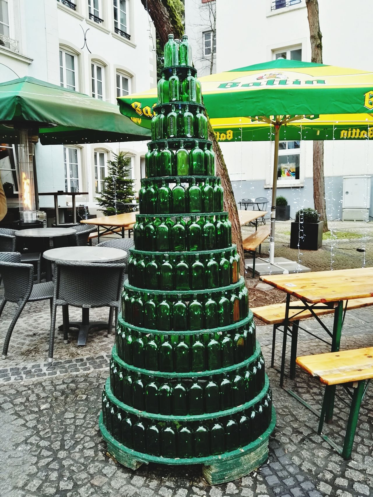 All I want for Christmas is... :-) Illuminated Christmas Tree Celebration Green Color Christmas Christmas Decoration No People Outdoors Bottles Collection Bottle Art Luxembourg Streetphotography Luxembourg_Collection Jägermeister Abstract Art Original Art Finding New Frontiers