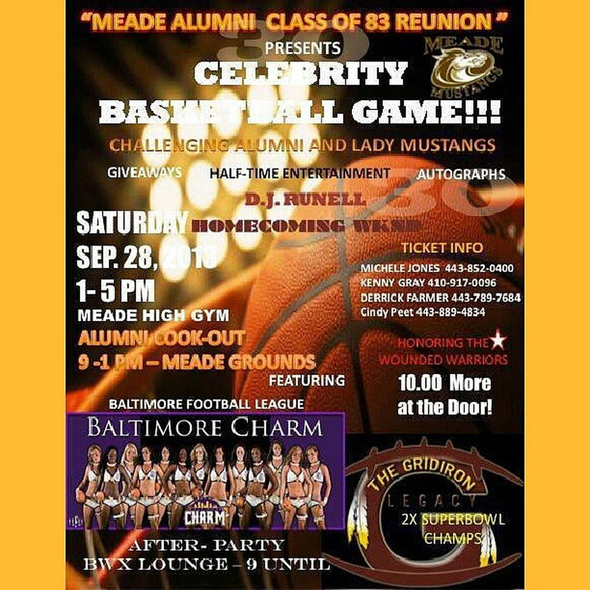 "The flyer is for Saturday, but tomorrow... ""This Friday and Saturday is Meade High School Homecoming Weekend...Friday Sept 27th Football Game at 6:30, Alumni Tailgate from 3pm on...Meade is 37 years old and l know we can get Alumni from class 1977-2012 out to the Football Game.Saturday Sept 28th The Alumni cookout from 9am - 1pm & Celebrity Basketall Game from 1pm - 5pm."" - Coach Gray Meade MeadeHigh Whoop !!!!"