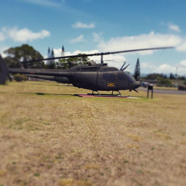 Decommissioned helicopters at gate into Schofield Barracks Hawaii Oahu Schofieldbarracks Helicopters army