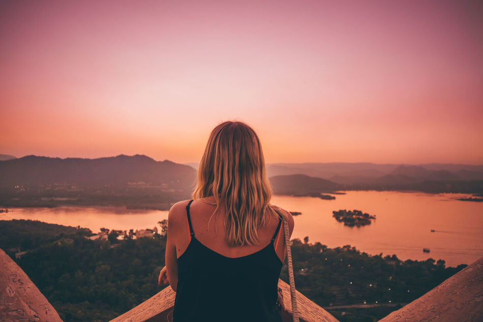 Descending sun imprinted hue on my canvas. Sunset Waist Up Nature One Woman Only Beauty Beauty In Nature One Person Landscape Relaxation Tranquility Scenics Day Dreaming Outdoors Idyllic Jodhpur Rajasthan Travel Destinations Udaipur