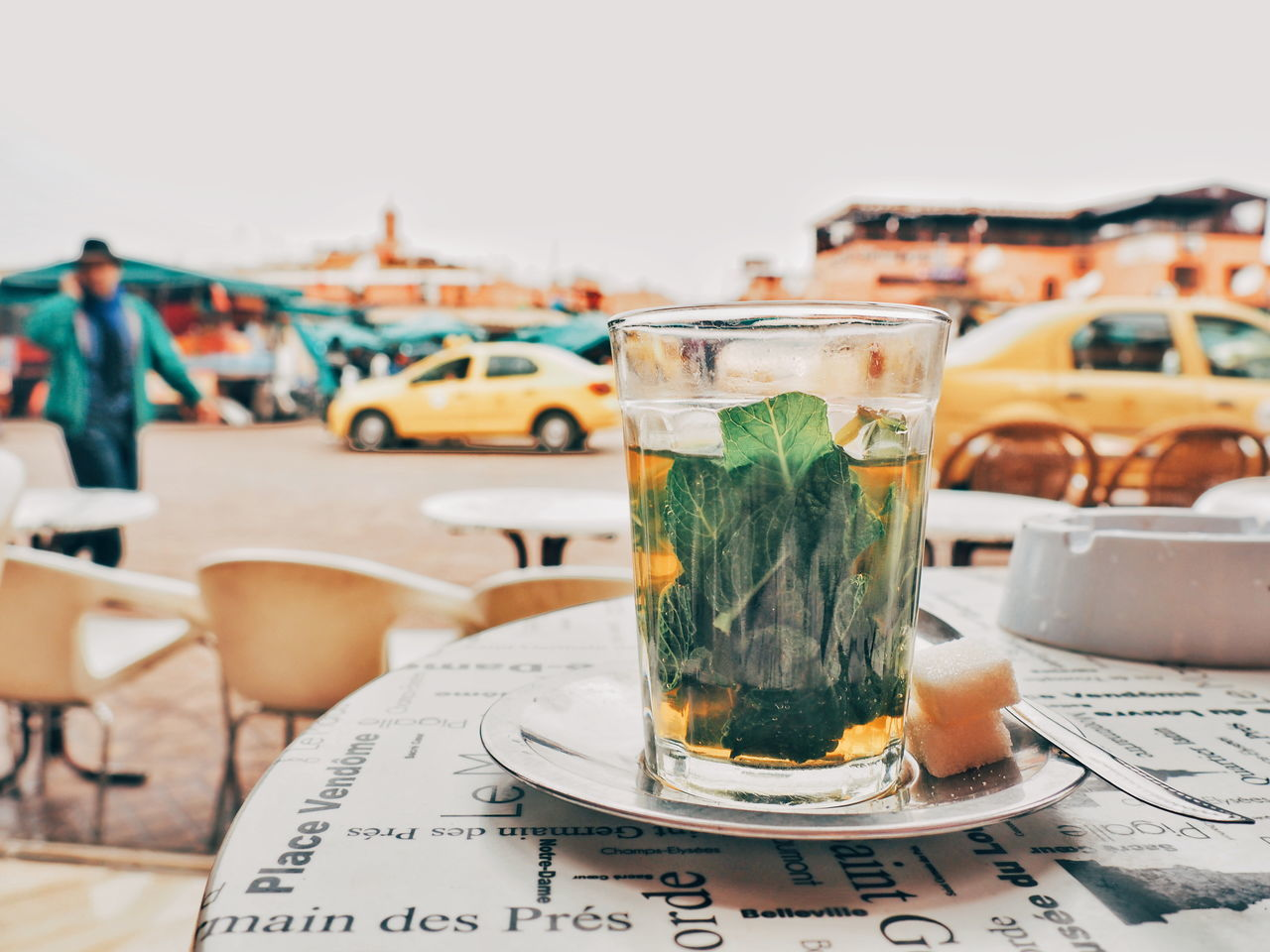 Busy Street Cafe Calmness Day Drink Drinking Glass Food And Drink Freshness Marketplace Mint Tea Morocco MoroccoTrip No People Peaceful View Refreshment Tea Tea Time White Background