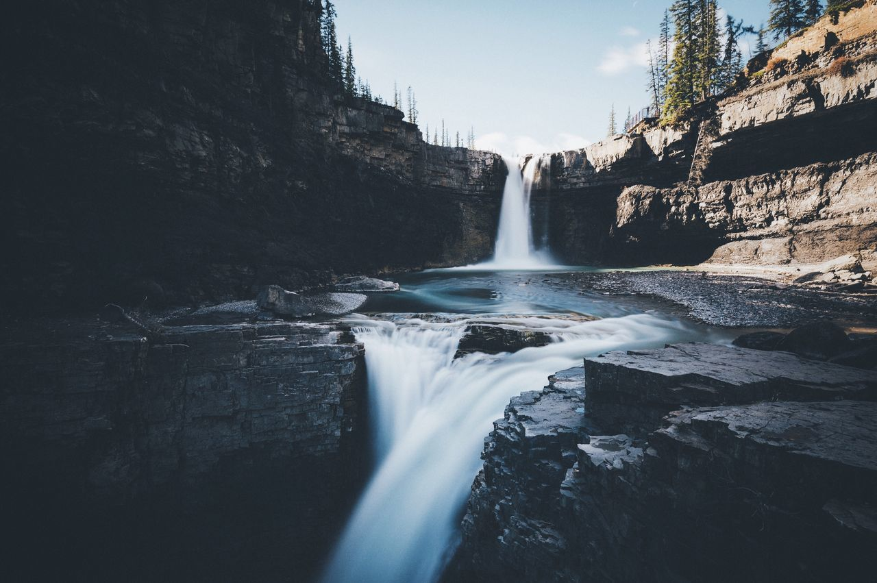 Double waterfalls Canada Vscofilm Water Nature Waterfall Motion Beauty In Nature Scenics No People Long Exposure Outdoors Sky Day Hydroelectric Power