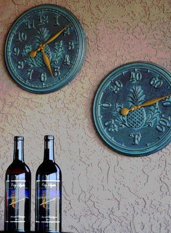 """Conditions are always """"right"""" for fine wine Bottle Cabernet Casa Tiene Vista Clock Fallbrook Fine Wine Five O'clock Number Winery"""