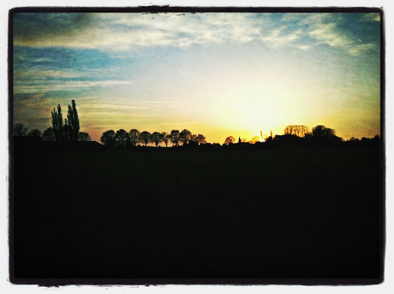 landscape, silhouette, sky, sunset, nature, tree, field, tranquility, beauty in nature, no people, outdoors