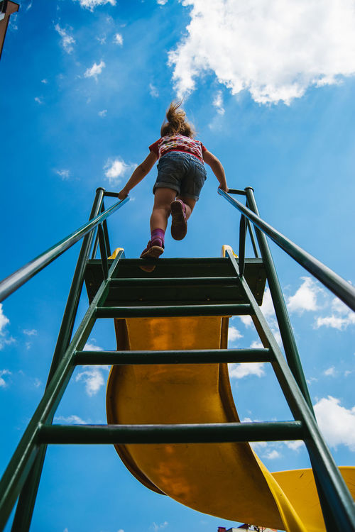 Blue Blue Sky By Ivan Maximov Casual Clothing Climbing Cloud Cloud - Sky Cloudy Day From My Point Of View Fun Go Up Leisure Activity Lifestyles Low Angle View Movement Outdoors Sky Skyward Slide The Slide Collection Upward Upward Movement Showcase July Home Is Where The Art Is