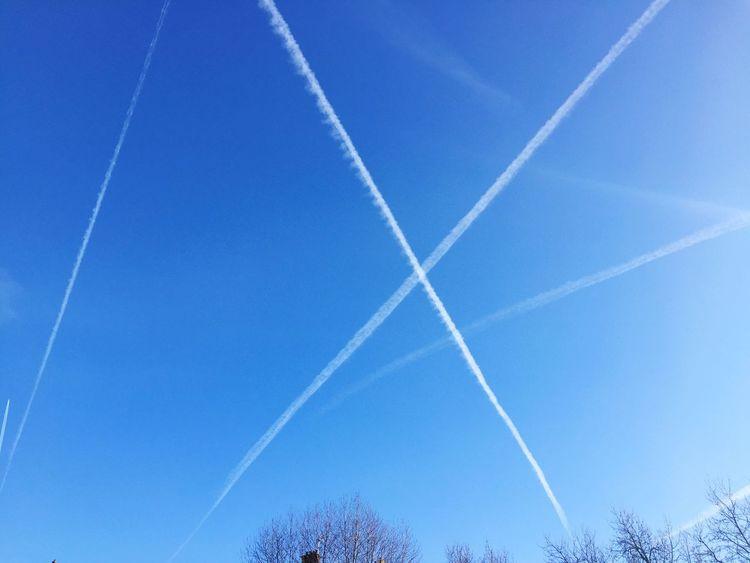 Blue Sky Clear Sky Whereareyougoingpeople Airplane Vapor Trail Contrail