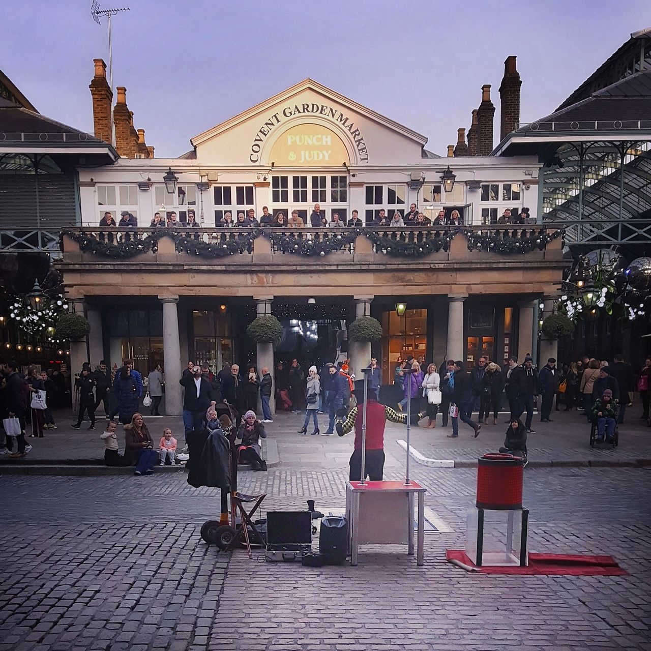Busking at Covent Garden in December..cool! City Arts Culture And Entertainment Architecture Built Structure Sky Outdoors Performance Day London Covent Garden  Busker Busking Balcony London Lifestyle