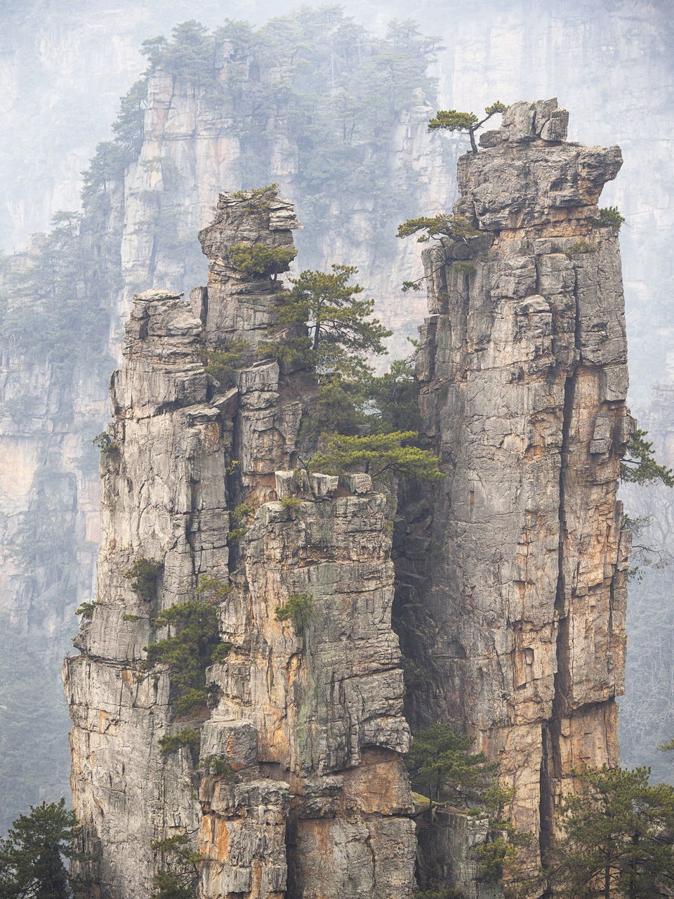 Rock Formations During Foggy Weather