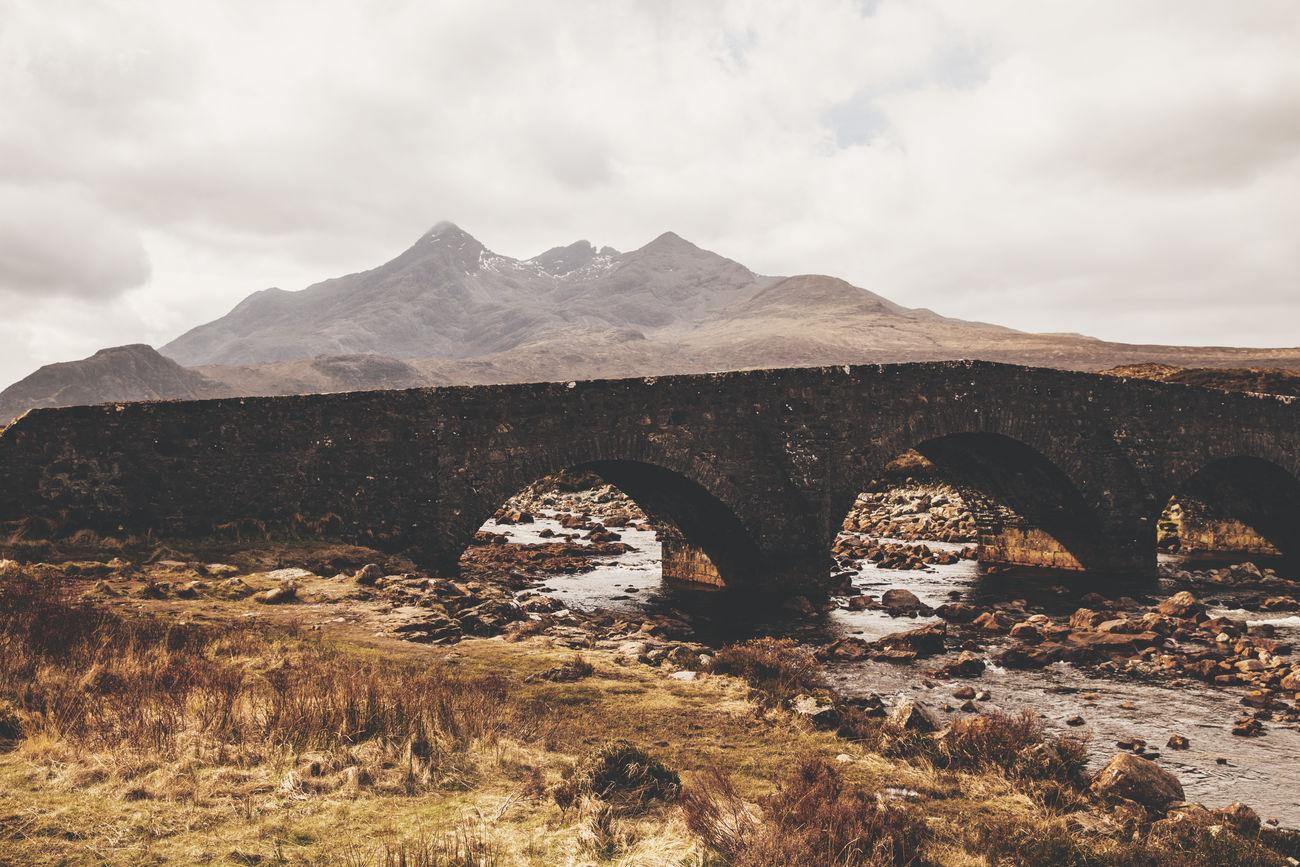 Isle of Skye, Scotland Bridge Cloudy Day Isle Of Skye Landscape Moody Mountain Nature Scotland Tranquility