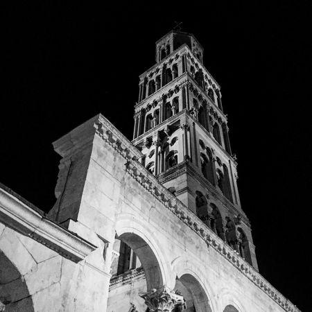 Low Angle View Architecture Building Exterior Religion Night Split Croatia History Travel Destinations Travel No People Church Blackandwhite Spirituality EyeEmNewHere
