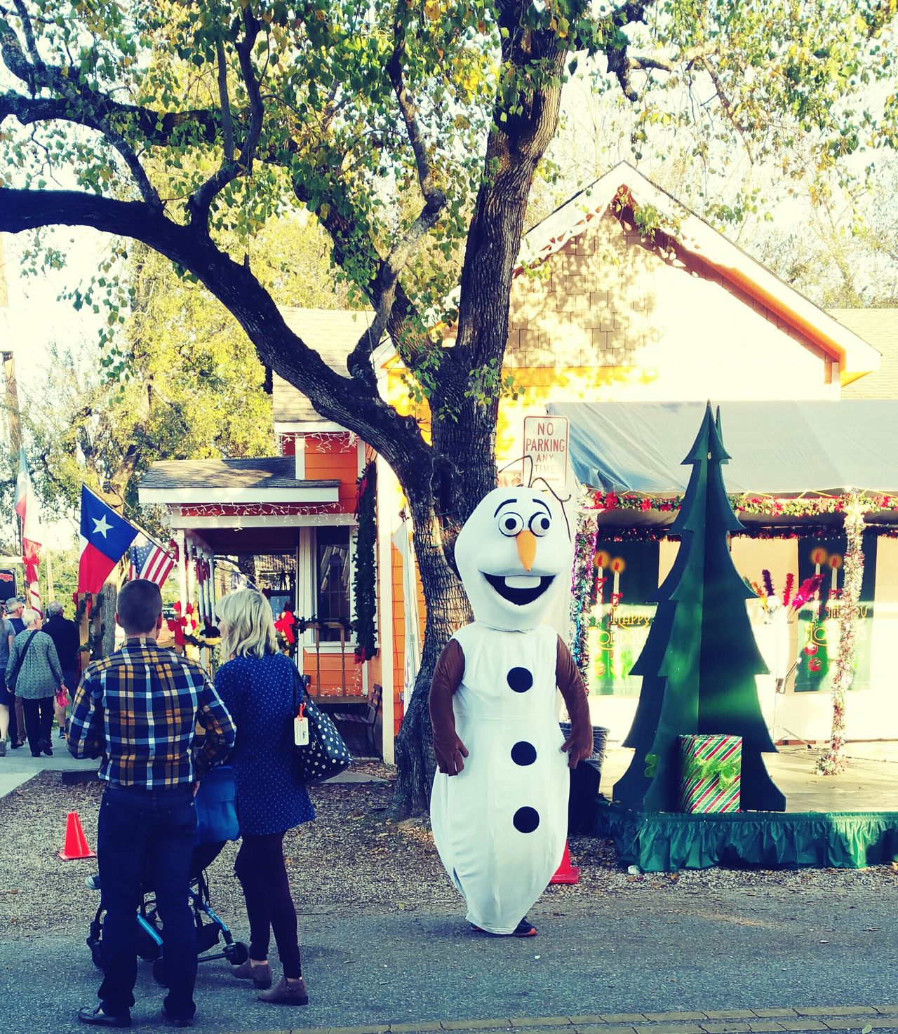 Enjoy The New Normal Good Ole Olaf. Lol.😄 Tree Outdoors Day People Standing Popular Photos EyeEm Gallery Costumes Colorful Outdoors Christmas Decoration Local Attractions Olaf