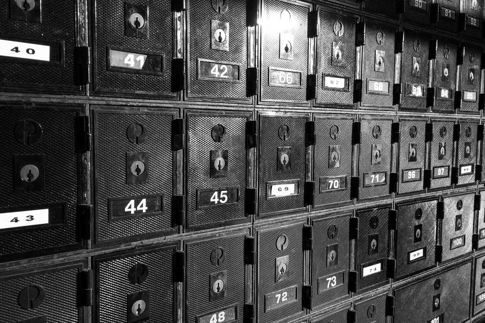 Locker In A Row Indoors  Storage Compartment Locker Room Safety Security Number Full Frame Large Group Of Objects Filing Cabinet No People Close-up Day Monochrome Shadows & Lights