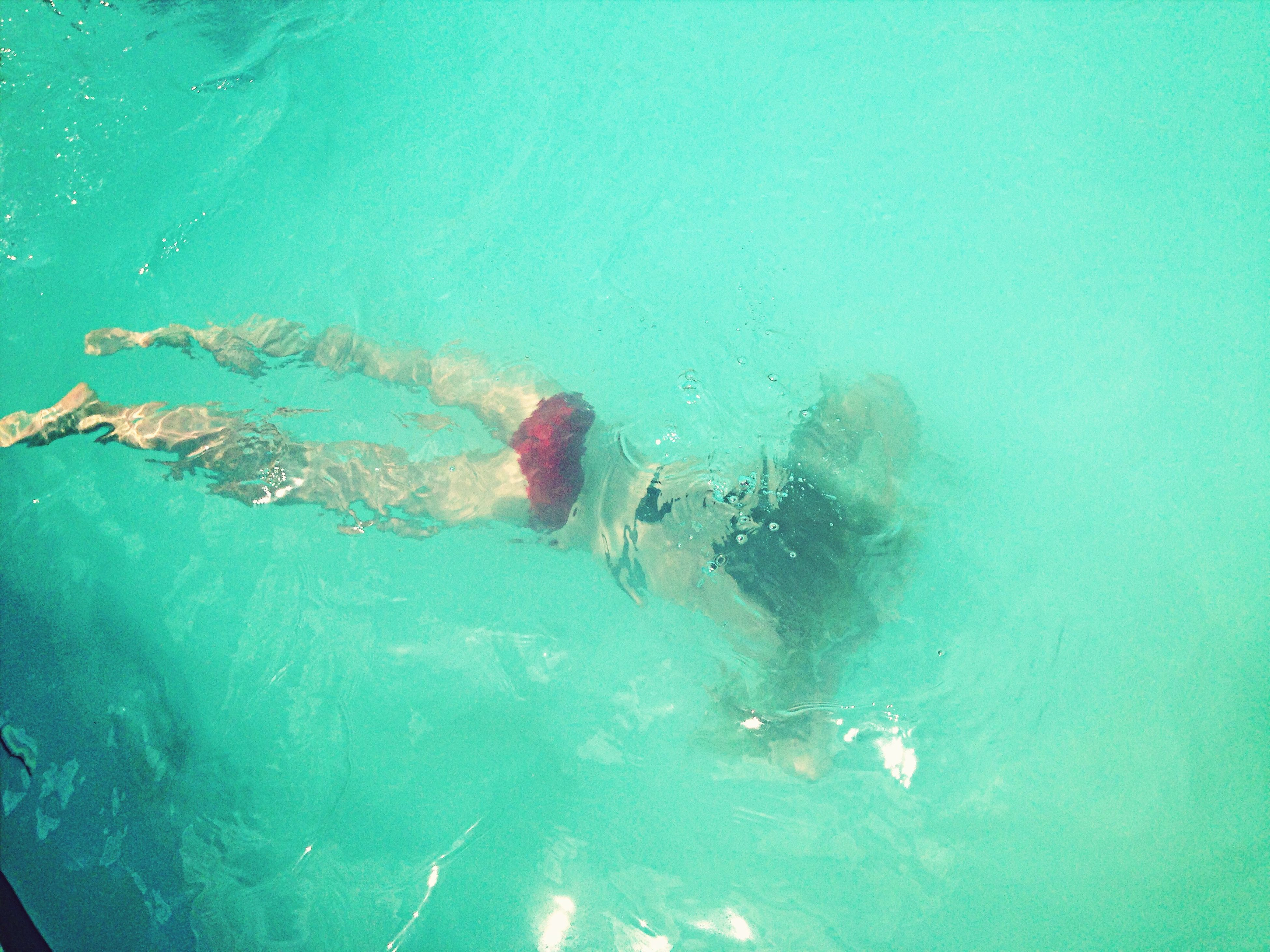 water, blue, underwater, swimming, swimming pool, turquoise colored, transparent, lifestyles, high angle view, sea, leisure activity, nature, day, undersea, men, wet, bubble, outdoors