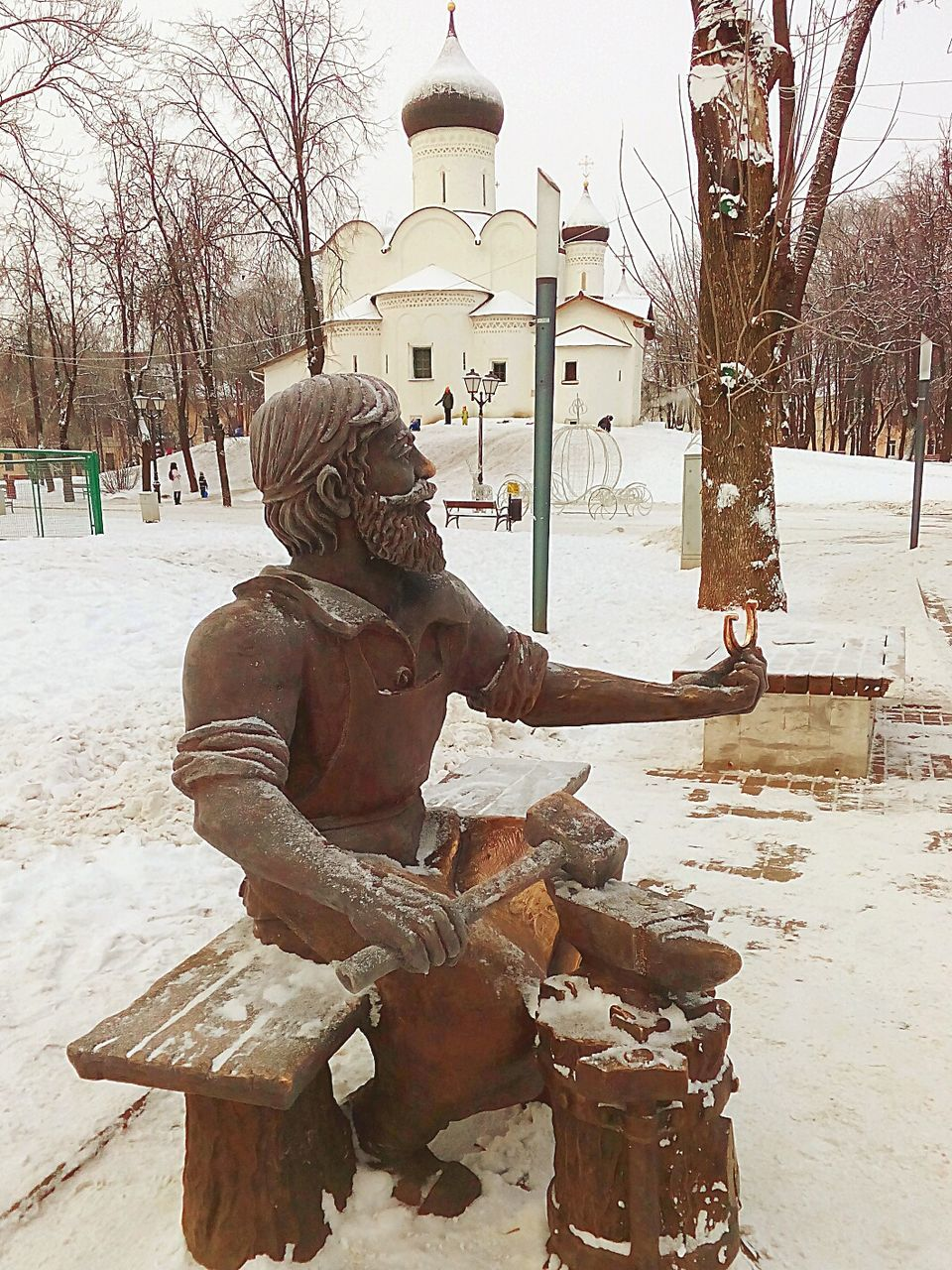 winter, bare tree, cold temperature, sculpture, tree, day, snow, outdoors, statue, nature, one person, people