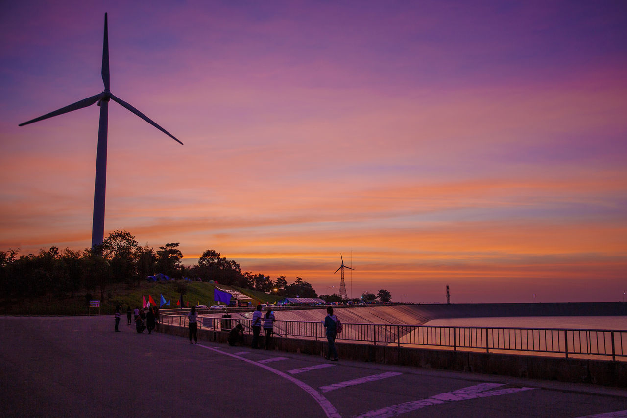 sunset, wind power, wind turbine, alternative energy, sky, nature, outdoors, water, sea, windmill, cloud - sky, beauty in nature, fuel and power generation, scenics, horizon over water, traditional windmill, industrial windmill, no people, day