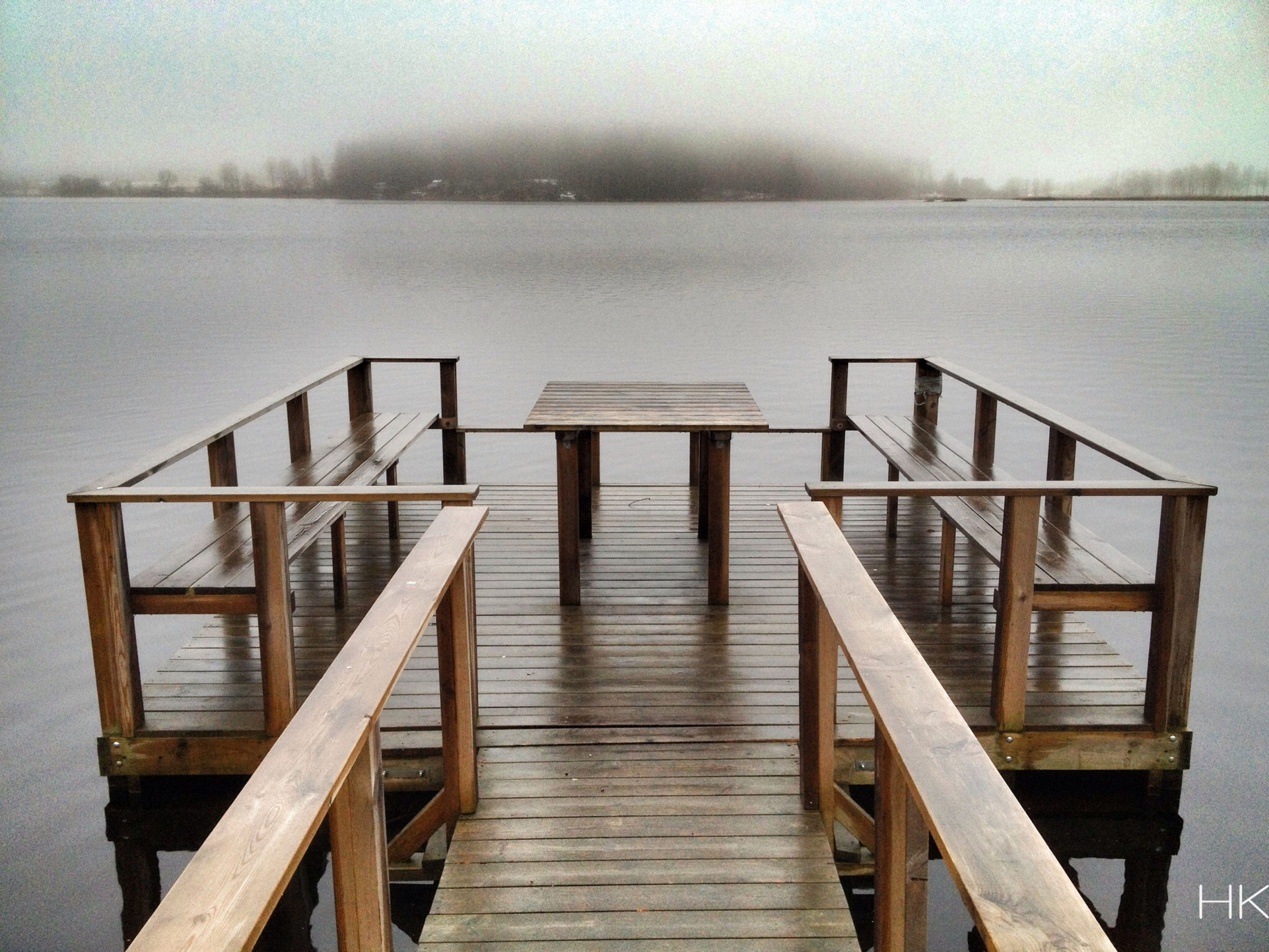 wood - material, pier, water, lake, tranquility, tranquil scene, railing, wooden, scenics, jetty, wood, nature, bench, empty, beauty in nature, boardwalk, sky, weather, wood paneling, non-urban scene