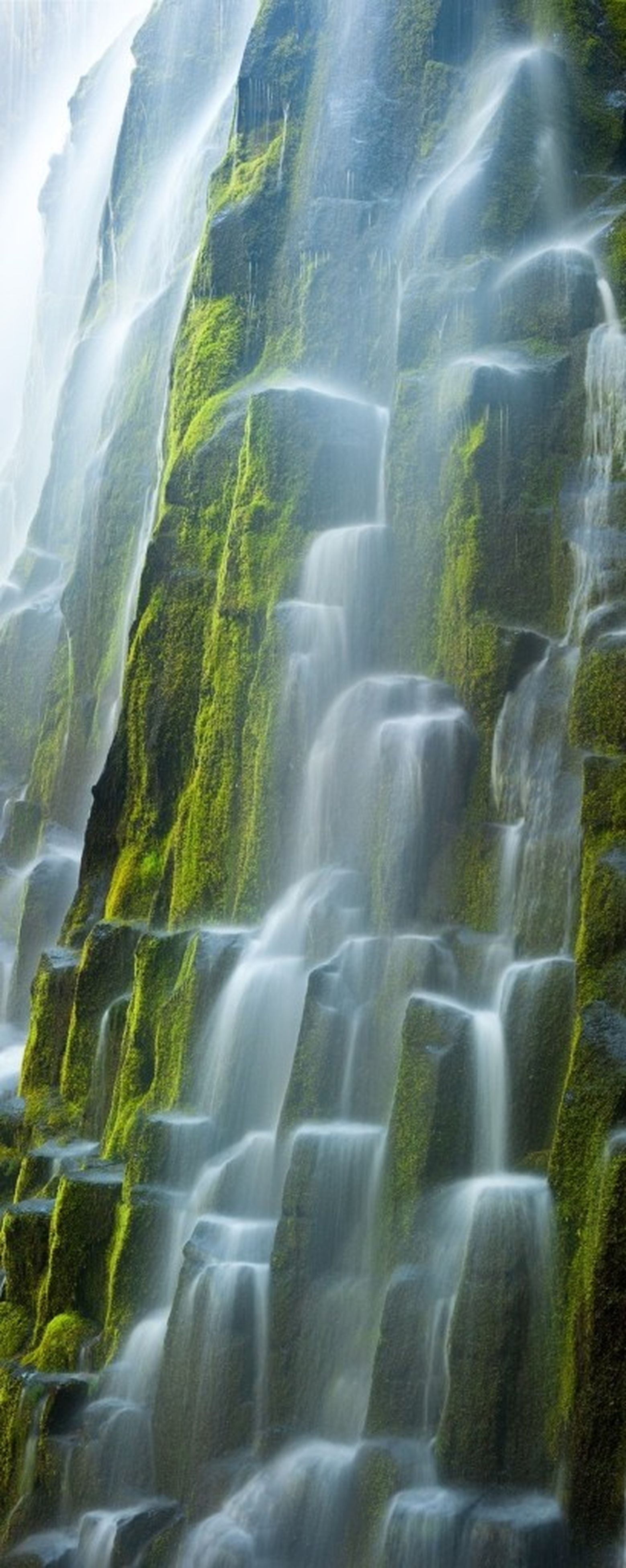 waterfall, beauty in nature, water, motion, scenics, flowing water, nature, flowing, tranquility, long exposure, tranquil scene, idyllic, day, rock - object, green color, landscape, outdoors, high angle view, non-urban scene, no people
