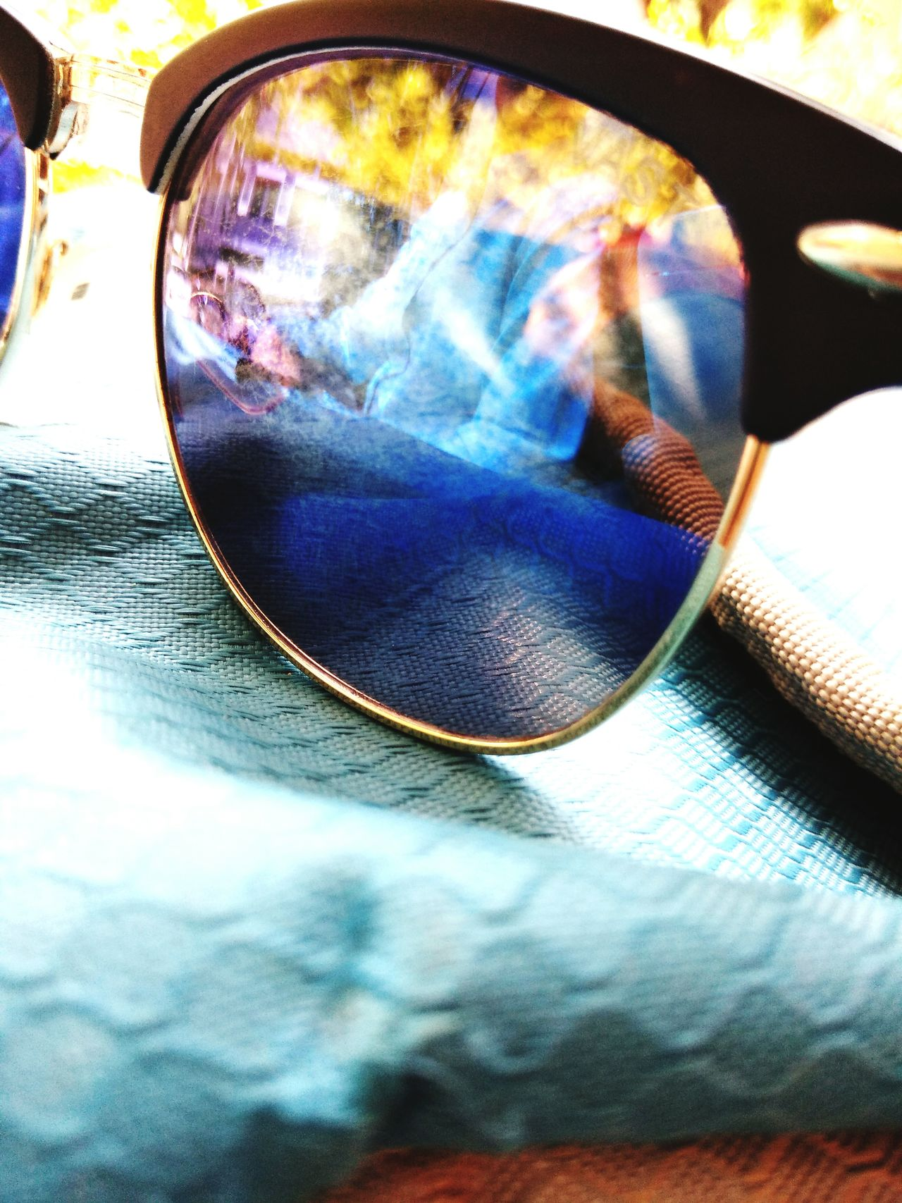 Blue No People sunglasses Reflection Close-up Day Multi Colored Outdoors