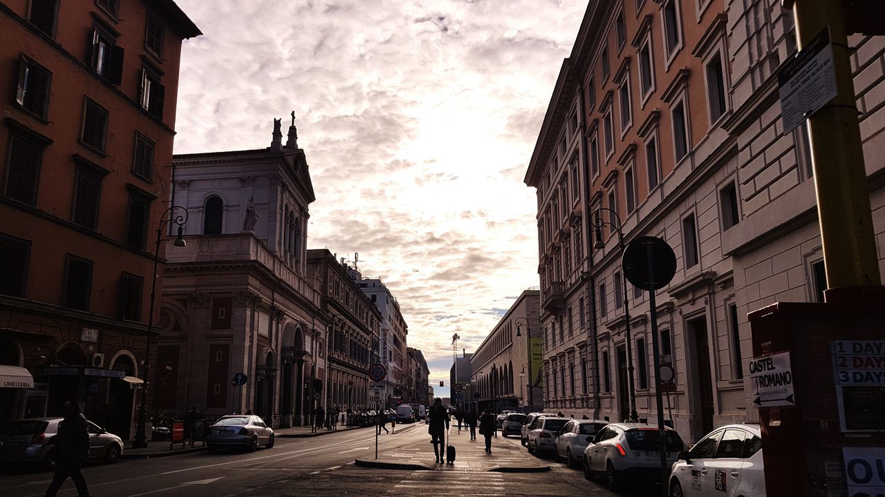 building exterior, architecture, sky, built structure, street, city, car, sunset, outdoors, day, no people