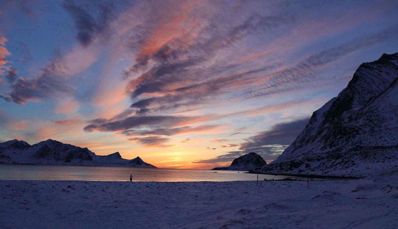 Arctic Sunset Sunset Norway Beauty In Nature Nature Scenics Tranquil Scene Sky Sunset Beach Mountain Tranquility Lofoten Islands Winter Outdoors Cloud - Sky Water Sea Landscape