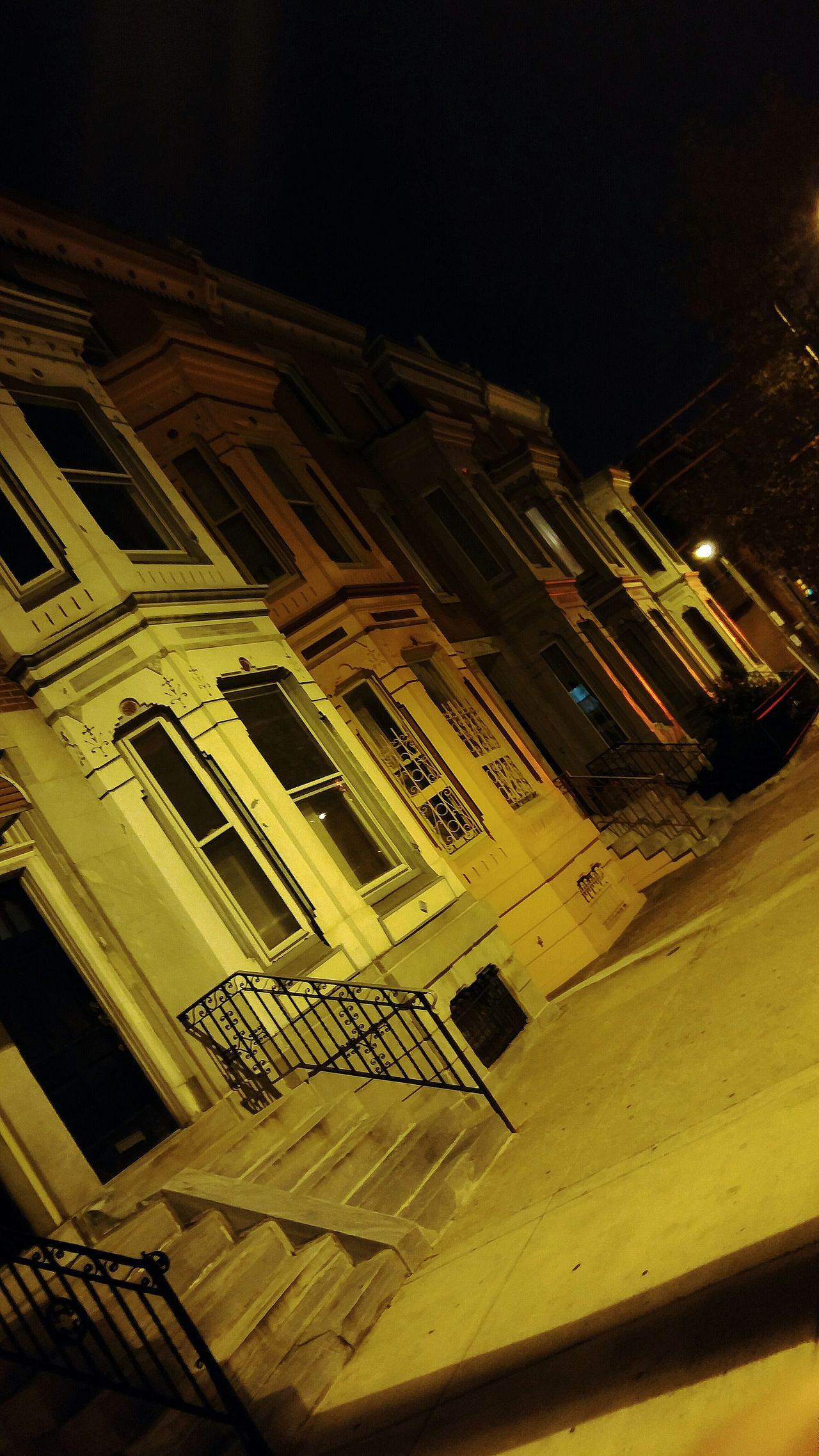 Night View From My Point Of View Street South Philadelphia Philadelphia Street Photography Light And Shadow Walking Around InSouth. Brownstones.🏠