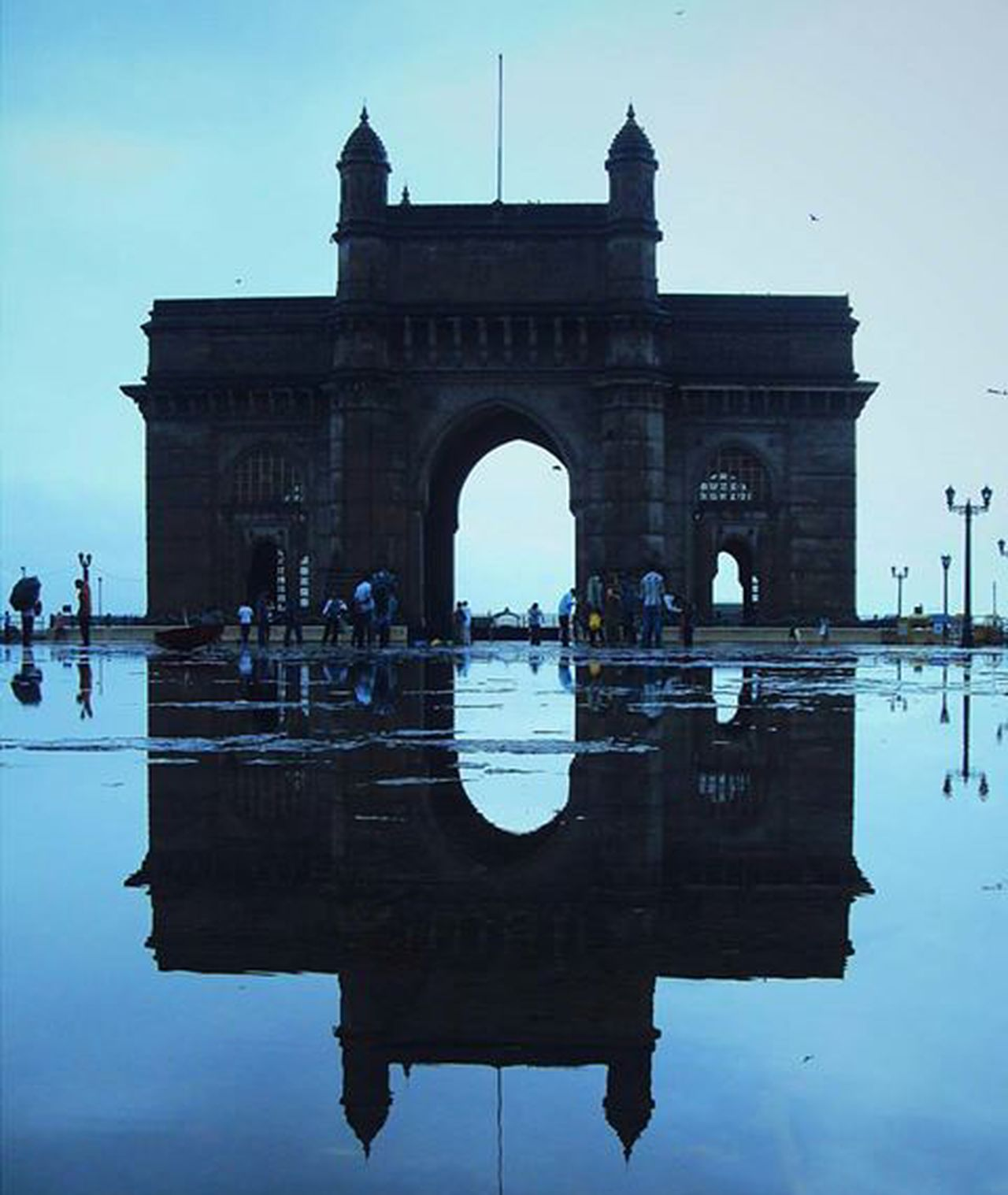 India gate Architecture Water Sky Rain Reflection