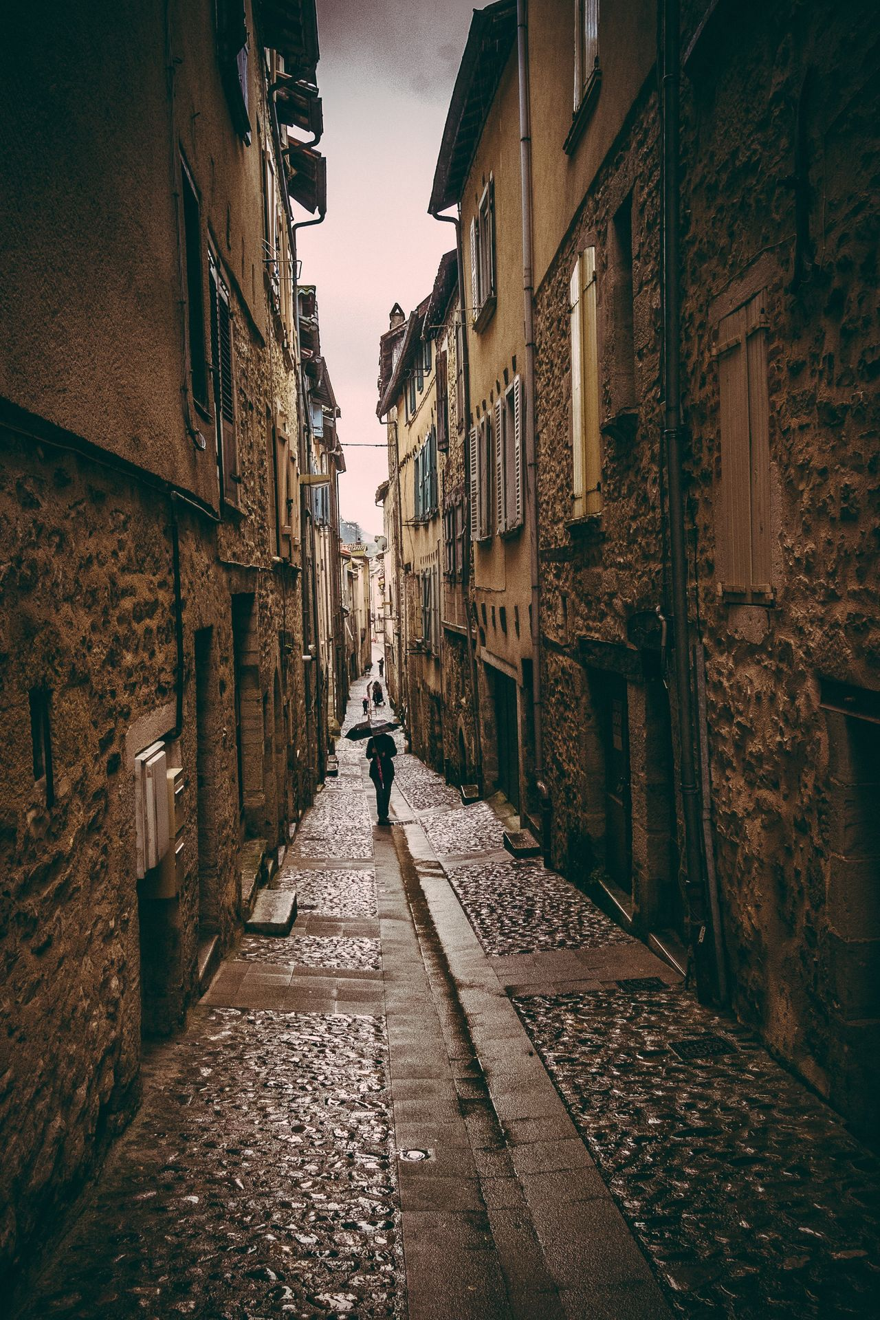 Wandering the narrow streets of Villefranche de Rouergue on a rainy day Villefranche De Rouergue Explore France Medieval Village French Village Old Village France Medieval Aveyron France Old Village France Streets Street View City Life Urbanexploration Rainy Days Rainy Street Narrow Street