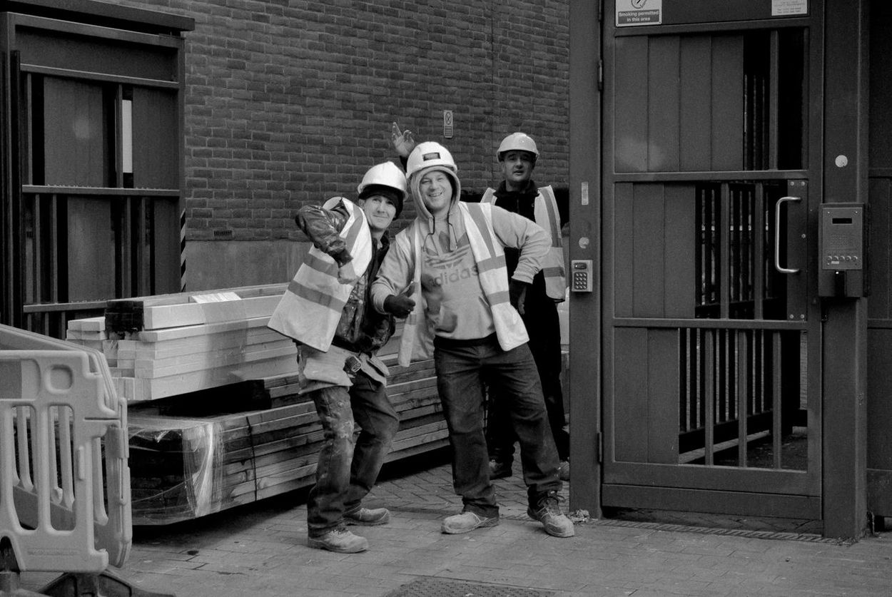Black & White Black And White Blackandwhite Blackandwhite Photography City Life Enjoying Work Friends Friendship Front View Full Length Hard Hats Lads Lifestyles Man At Work Men Menatwork Occupation Real People Standing Street Photography Streetphoto_bw Streetphotography Togetherness Urban The Street Photographer - 2016 EyeEm Awards
