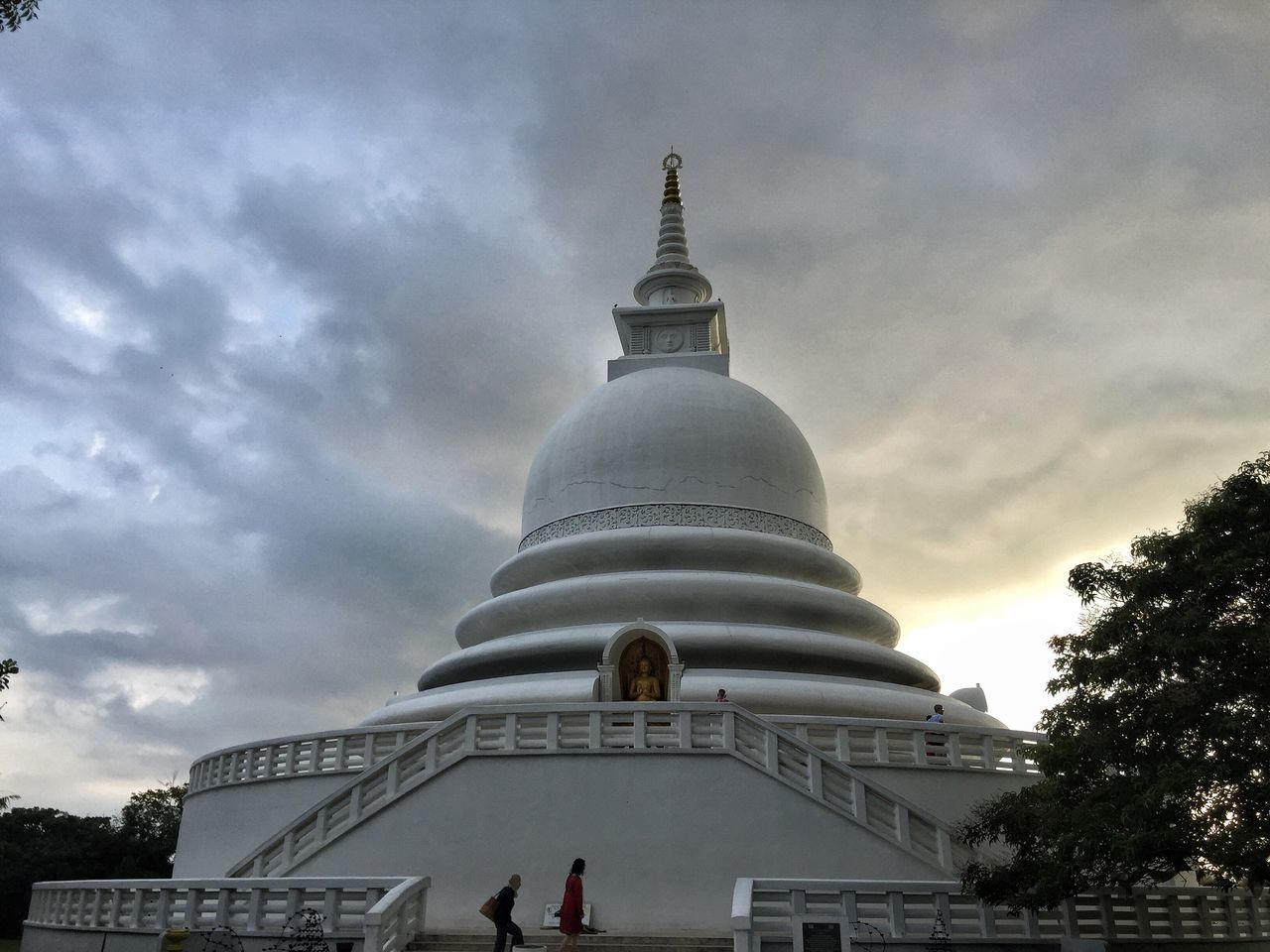 Peace Pagoda - a symbol of peace for everyone from all wakes of life, nomatter the religion, race or ideology Architecture Built Structure Sky Cloud - Sky Building Exterior Religion Spirituality Travel Destinations Place Of Worship Low Angle View Outdoors Day Tree Tranquil Scene Waterfront Sri Lanka Unawatuna Pagoda Pagoda Temple