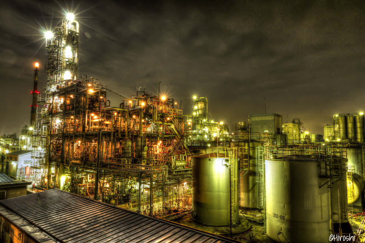 illuminated, night, built structure, no people, building exterior, outdoors, sky, architecture, factory
