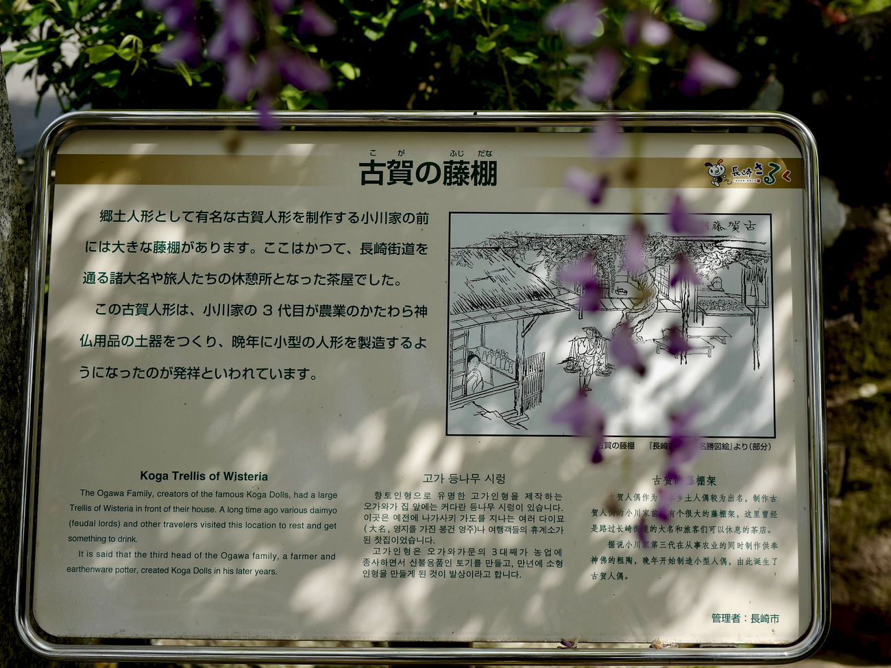 Koga, Fujitana ( Japanese Wisteria trellis ) : sunlight filters through the trees - the interplay between the light and the leaves. (木漏れ日)長崎市 古賀の藤棚 de Good Monday Close-up Information Board Nagasaki Historic Highway Nagasaki Today Outdoors Softness Sunlight Filters Through The Trees - The Interplay Between The Light And The Leaves. Text Trellis Wisteria 木漏れ日 藤棚 長崎市 長崎街道(Nagasaki Kaidō)