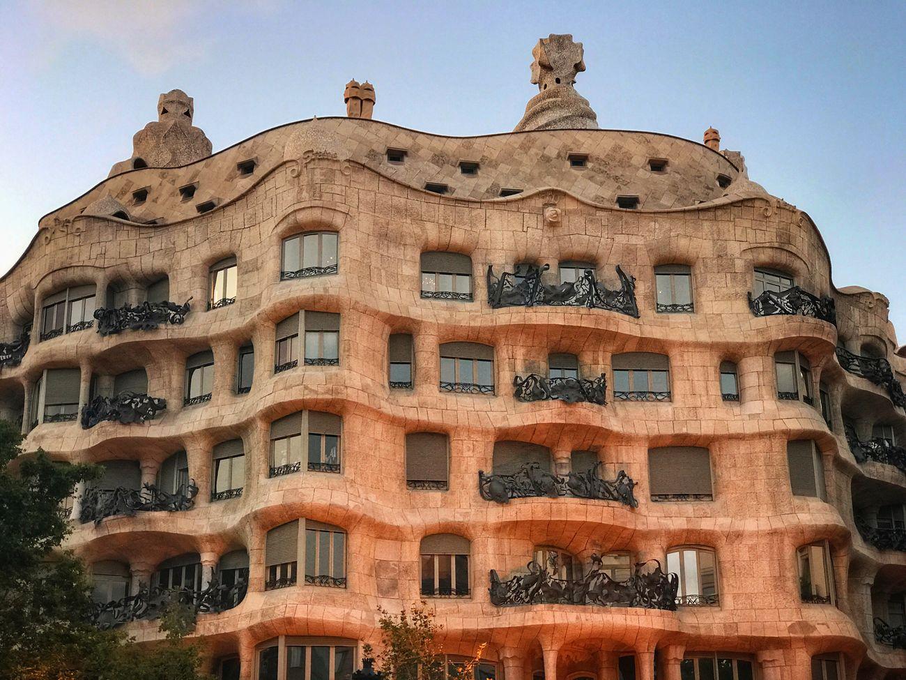 La Pedrera or Casa Mila designed by Antoni Gaudi, Barcelona Architecture Low Angle View Building Exterior Window Built Structure No People Day Sky Outdoors Clear Sky Casa Mila ( La Pedrera ) Casa Mila La Pedrera EyeEm Selects Barcelona Catalonia Catalunya SPAIN