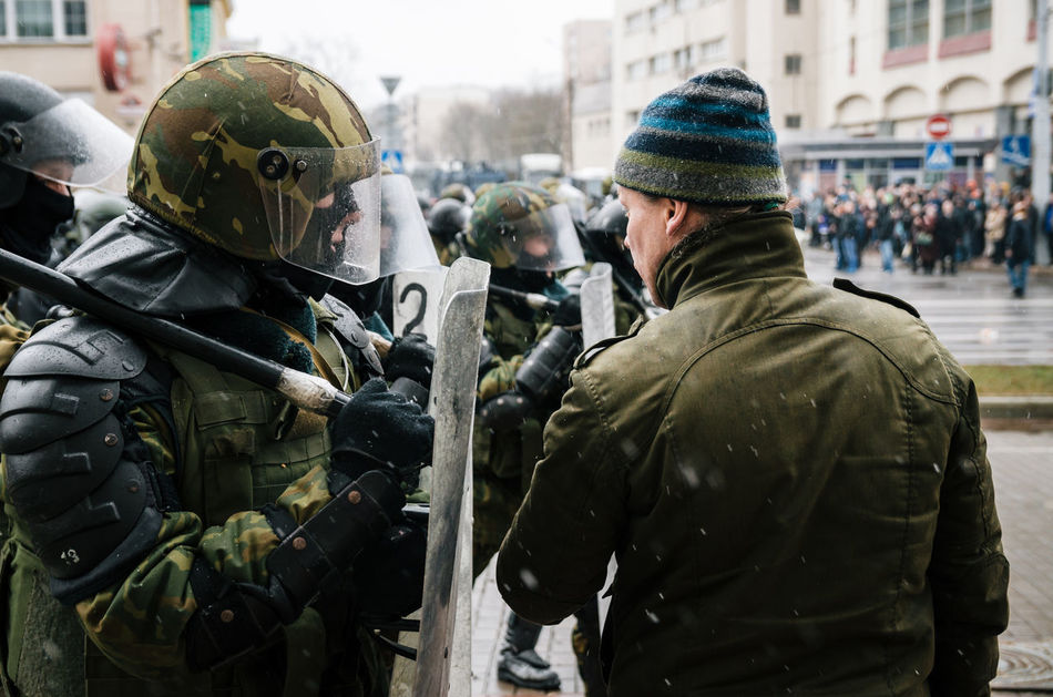 Minsk, Belarus - March 25, 2017 - Belarusian people participate in the protest against the decree 3 'On prevention of social parasitism' of President Lukashenko and the current authorities. Active Activism Belarus Belarus Nature Citizen Demonstration People Police Police Force Protest Protesters Protesting Rally Reportage Riot Street
