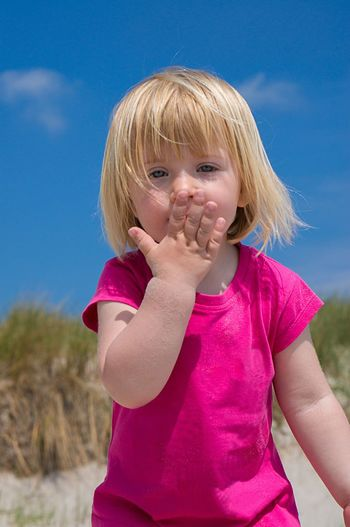 little girl kissing her hand Blue Sky Cute Sweet Summer On The Beach Caucasian Kissing Hand Kiss Hand Blonde Girl Beatyfulgirl Beautiful Beach Child Childhood Blond Hair Children Only Girls One Person Human Body Part Outdoors Day Only Girls People Portrait Close-up Nature Human Hand One Girl Only Casual Clothing Sky