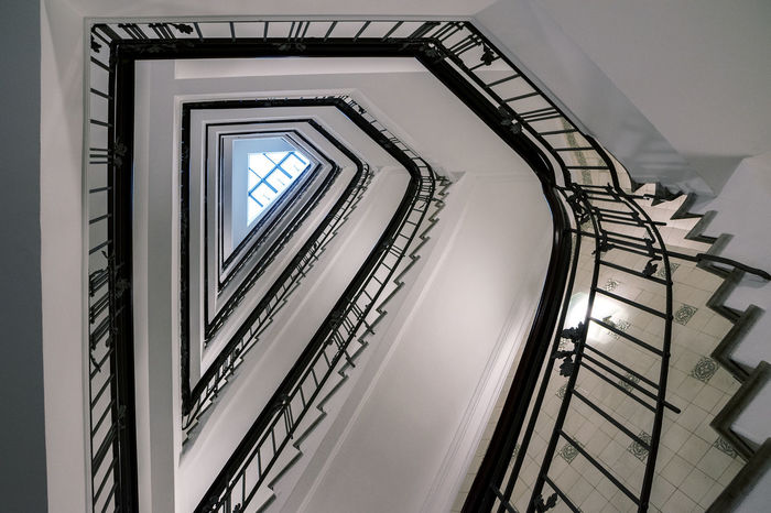 Architecture Stairs Below Built Structure Day Hand Rail Historic Indoors  Low Angle View Metaphor No People Old Railing Spiral Spiral Staircase Spiral Stairs Staircase Stairways Steps Steps And Staircases Sucsess Symbol Triangular Upwards