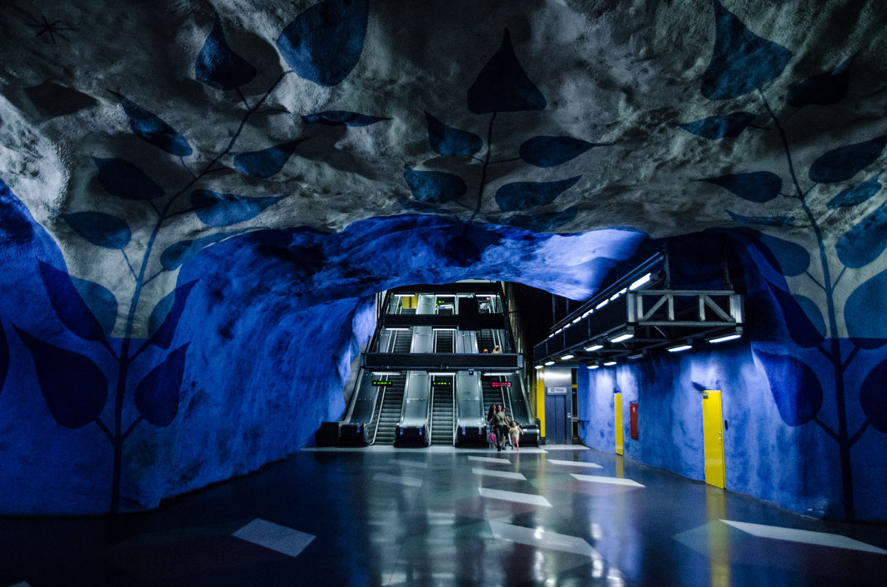 Architecture Illuminated Built Structure Indoors  No People Night Subway Station Underground Station  Stockholm, Sweden Sweden Transportation Metro Travel Destinations Architecture_collection Architectureporn Stockholm Architecture Stockholm Metro Indoors  Tunnel Art Is Everywhere