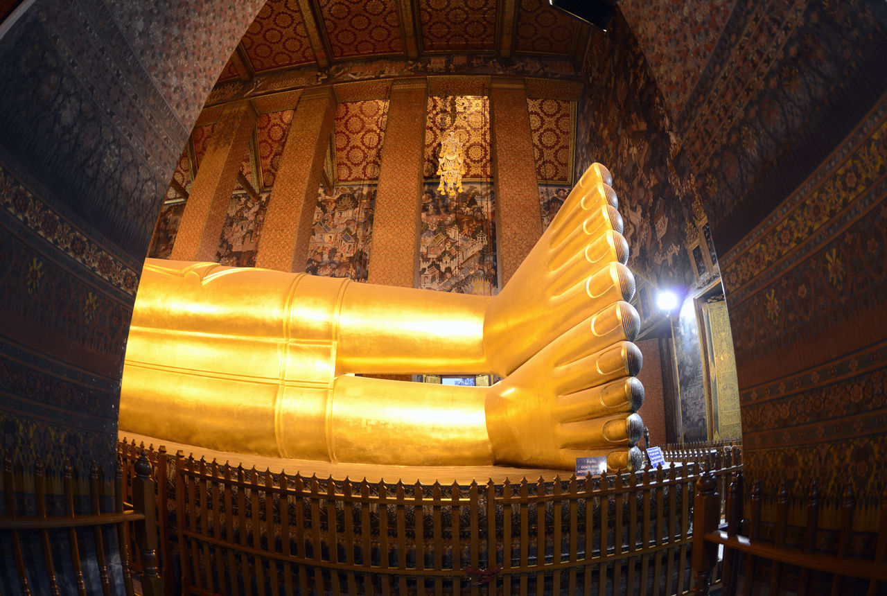 low angle view, architecture, religion, place of worship, indoors, spirituality, gold colored, built structure, travel destinations, illuminated, no people, day